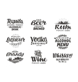Alcoholic drinks Collection labels for menu vector image vector image