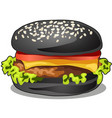 black big burger with cutlet beef meat melted vector image