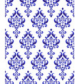 blue and white damask pattern seamless vector image vector image