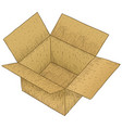 brown open cardboard box hand drawn colored vector image