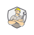 Builder Arms Crossed Wrench Shield Retro vector image vector image