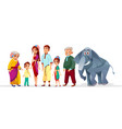 cartoon thai family asian characters set vector image vector image