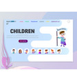 children home page template flat style character vector image vector image