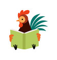 colorful rooster reading book farm cock cartoon vector image vector image