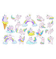 cute unicorn kitty cartoon cats with rainbow vector image