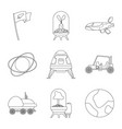 design of mars and space sign set of mars vector image