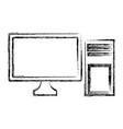 desk computer technology vector image vector image