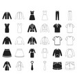 different kinds of clothes blackoutline icons in vector image vector image