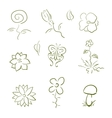 Flora and fauna design elements set vector image vector image