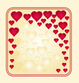 Frame with gold and red hearts greeting card vector image vector image