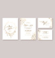 gold wedding invitation save date thank you vector image vector image