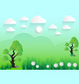 green landscape meadow with trees rocks sky and vector image