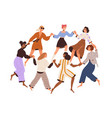 group diverse happy women dancing in circle vector image