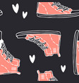 hand drawn seamless pattern with jeans shoes vector image vector image