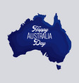 happy australia day map of australia design vector image