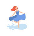 happy beautiful girl in blue dress relaxing on vector image vector image