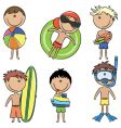 Happy kids on the beach vector | Price: 3 Credits (USD $3)