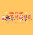 happy new year card design with dancing cattle vector image