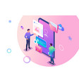 isometric young men standing near mobile phone vector image vector image