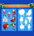 kids game find suitable silhouette cartoon santa vector image
