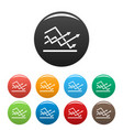 line chart icons set collection circle vector image vector image