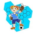 Little boy playing football as a goalkeeper vector image