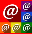 mail sign set of icons with vector image vector image