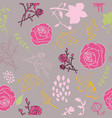 mixed florals on muted pink background pattern vector image vector image