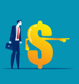 money sign pointing to investment for business vector image