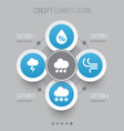 nature icons set collection of snowy moisture vector image vector image