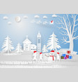 paper art style winter season with snowflake vector image vector image