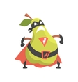 Pear Dressed As Superhero With Cape And Mask Part vector image vector image