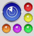radar icon sign Round symbol on bright colourful vector image vector image