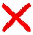 red criss cross brushstroke delete sign vector image vector image