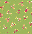scattered ditsy flowers green pink pattern vector image vector image