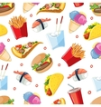 seamless pattern with fast food icon set vector image vector image