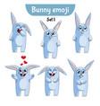 set of cute rabbit characters set 1 vector image