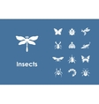 Set of insects simple icons vector image vector image