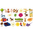set pet and nature vector image vector image
