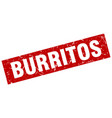 square grunge red burritos stamp vector image vector image