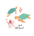 sweet design with cute sea animals nursery art vector image