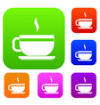 tea cup and saucer set color collection vector image vector image