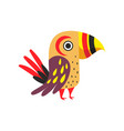 tropical parrot with colored feathers wings and vector image vector image