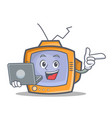 tv character cartoon object with laptop vector image vector image