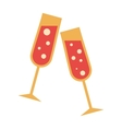 Two glasses flat icon vector image