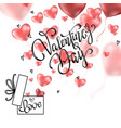 valentines hearts with gift box postcard vector image vector image