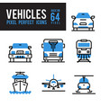 vehicle and transport monocolor icon pixel vector image