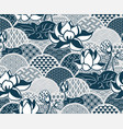 water lily traditional kimono pattern sketch line vector image vector image