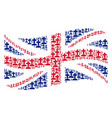 waving british flag pattern of cemetery items vector image vector image