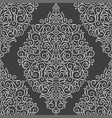white damask pattern on a black background vector image vector image